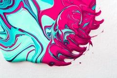Liquid marbling acrylic paint background. Fluid painting abstrac. Liquid paper marbling paint background. Fluid painting abstract texture, art technique Stock Photos