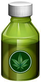 Liquid medicine in green bottle Stock Photos