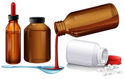Liquid medicine and tablets. Illustration Royalty Free Stock Image