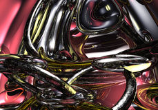 Liquid Metal 02. A Study of Form&Colors, rendered in Bryce Stock Images