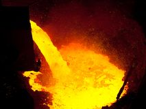 Liquid metal from blast furnace stock photos