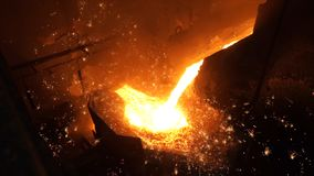 Liquid metal from blast furnace. Liquid iron from ladle in the steelworks Stock Photos