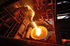 Liquid metal from blast furnace Royalty Free Stock Image