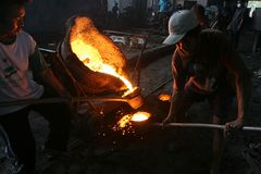 Liquid metal casting production Stock Photography