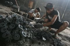 Liquid metal casting production Stock Photo