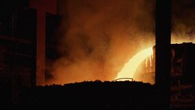 Liquid metal in the factory, foundry, smelting iron and processing. Blast Furnace Steel Production Steel Works.