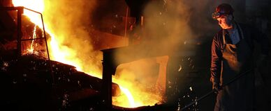 Free Liquid Metal In The Foundry, Melting Iron In Furnace, Steel Mill Stock Photography - 172106322