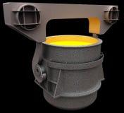 Liquid metal in the ladle Stock Image