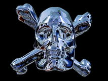 Liquid metal skull. Illustration of pirate skull made of liquid metal, black background Royalty Free Stock Images