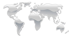 Liquid metal world map Stock Photography
