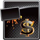 Liquid money advertisment. Money symbol and gold splatter Stock Photography
