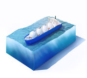 Liquid natural gas tanker on part of ocean. 3d rendered illustration of liquid natural gas tanker on part of ocean isolated on white Royalty Free Stock Photo