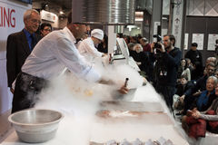 Liquid nitrogen cooking at Golosaria 2013 in Milan, Italy Royalty Free Stock Photo