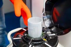 Liquid nitrogen cryogenic tank at laboratory Royalty Free Stock Photos