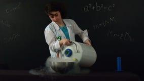 Liquid nitrogen pouring. Slow motion stock video