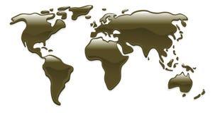 Liquid oil world map Royalty Free Stock Photo