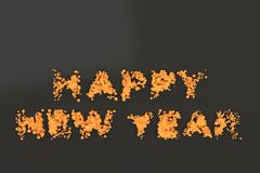 Liquid orange Happy New Year words with drops on black background Stock Photography