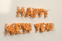 Liquid orange Happy New Year words with drops on white background. New year sign. 3D rendering illustration Stock Image