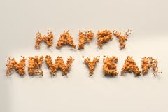 Liquid orange Happy New Year words with drops on white background. New year sign. 3D rendering illustration Royalty Free Stock Photo