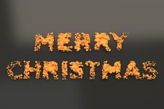 Liquid orange Merry Christmas words with drops on black background Royalty Free Stock Photo
