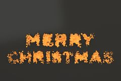 Liquid orange Merry Christmas words with drops on black background Stock Photos