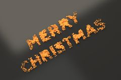 Liquid orange Merry Christmas words with drops on black background Royalty Free Stock Photos