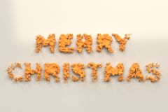 Liquid orange Merry Christmas words with drops on white background. Christmas sign. 3D rendering illustration Stock Photos
