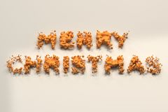 Liquid orange Merry Christmas words with drops on white background. Christmas sign. 3D rendering illustration Royalty Free Stock Photography
