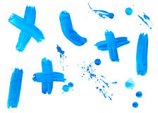 Liquid paint drop color strokes. Collection of colorful paint brush strokes on white background Stock Images