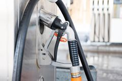 Liquid petrol gas or LPG station pump with nozzle to refuel a ca Stock Photo