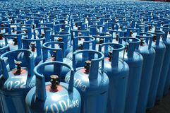 Liquid Petroleum Gas. Gas bottle pile in a depot Royalty Free Stock Image