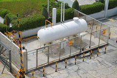 Liquid Petroleum Gas (LPG) storage unit. Inside a fence to prevent dangerous unauthorized intervention. Concept of Oil and Gas structure Stock Images
