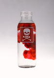 Liquid poison. Red skull stamp on the liguid bottle Royalty Free Stock Photography