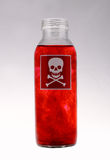 Liquid poison. Red skull stamp on the liquid bottle Stock Image