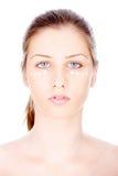 Liquid powder on woman's face Stock Photo