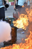 Liquid propane gas. Leak and fire royalty free stock image