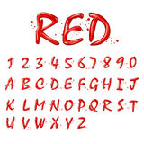 Liquid red alphabets and numbers collection Stock Images