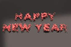 Liquid red Happy New Year words with drops on black background. New year sign. 3D rendering illustration royalty free illustration