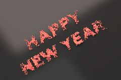 Liquid red Happy New Year words with drops on black background stock illustration