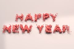Liquid red Happy New Year words with drops on white background royalty free illustration
