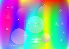 Liquid shapes background with dynamic fluid. Holographic bauhaus. Gradient with memphis elements. Graphic template for book, annual, mobile interface, web app royalty free illustration