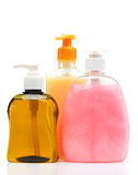 Liquid soap. Color of the bottle. Isolated on white background stock photography
