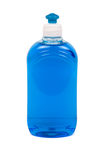 Liquid soap. Blue liquid soap in trasparent plastic bottles. Path included royalty free stock image