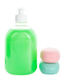 Liquid Soap And Two Bars Of Toilet Soap Stock Photo