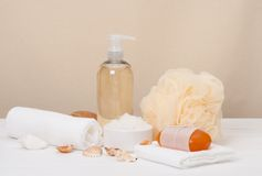 Liquid Soap, Aromatic Bath Salt And Other Toiletry Royalty Free Stock Photography