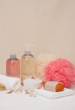 Liquid Soap, Aromatic Bath Salt And Other Toiletry Stock Photo