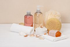 Liquid Soap, Aromatic Bath Salt And Other Toiletry Royalty Free Stock Photo