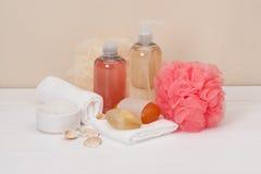 Liquid Soap, Aromatic Bath Salt And Other Toiletry Stock Photos
