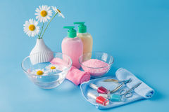 Liquid Soap, Aromatic Bath Salt And Other Toiletry Stock Images