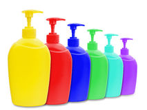Liquid soap bottles Royalty Free Stock Image